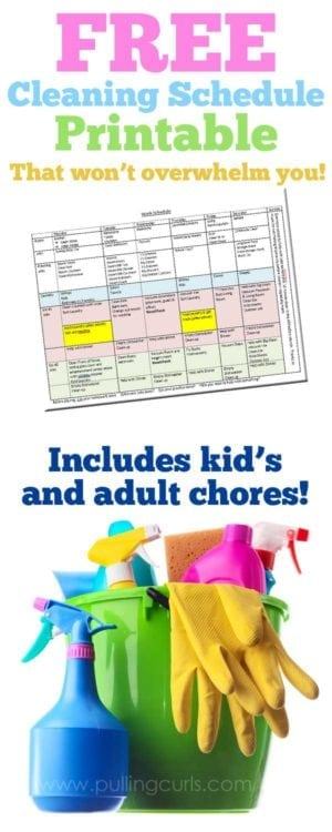 image relating to Printable Cleaning Schedule for Working Moms named The Rewards of a Place Cleansing Routine » Pulling Curls