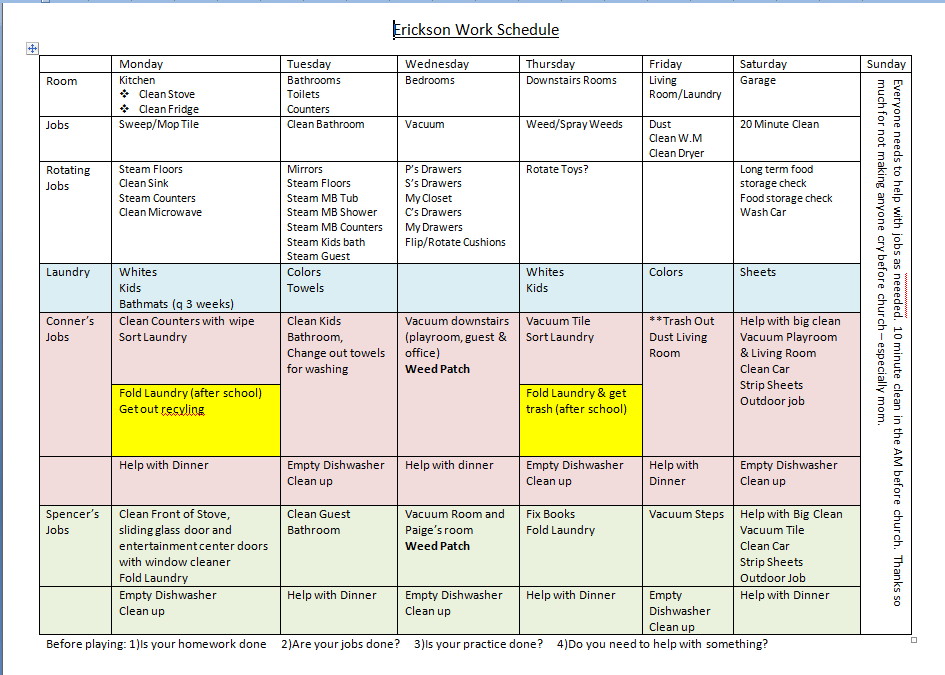 cleaning schedule template