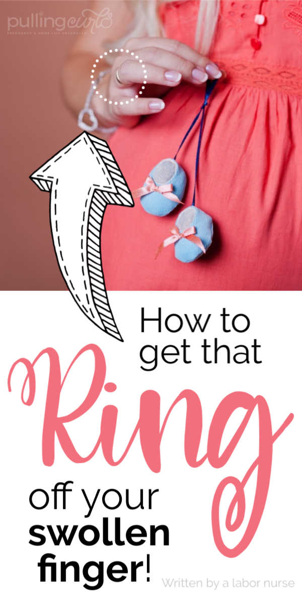 how to get a ring off swollen pregnant fingers. via @pullingcurls