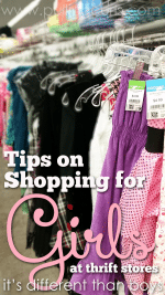These tips for shopping for girls at Goodwill will help you spend less while having the cute styles you love on your favorite girl. Save money, have lots of options, and your kids will love it! #pullingcurls