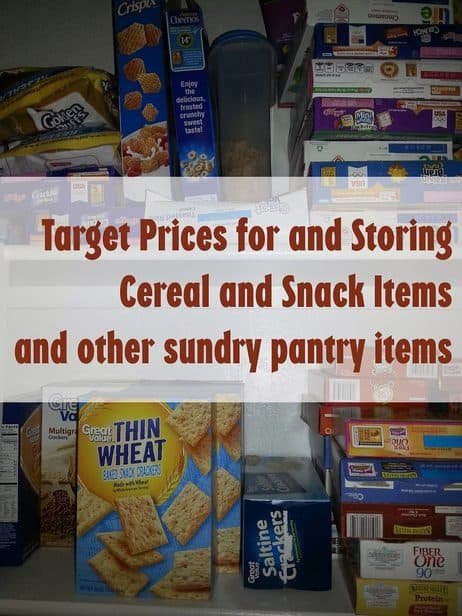 Target prices for snacks/cereal and jarred items and also how much I keep on hand. ~for your reference.