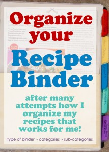 Recipe organization ideas | binder | DIY | menu plan | categories | best