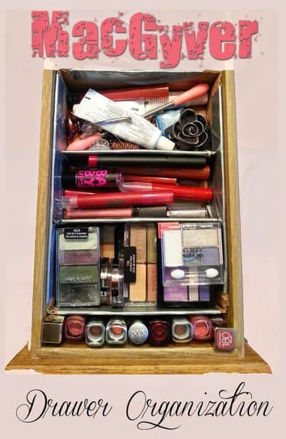 Duct tape, an Amazon box and some passion to get my makeup organized turned into a pretty handy dandy drawer organizer. What do you have, already, that could help YOU organize?