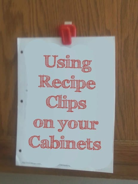 Using Recipe Clips on your cabinets can save space on your countertop and make recipes easy to see!
