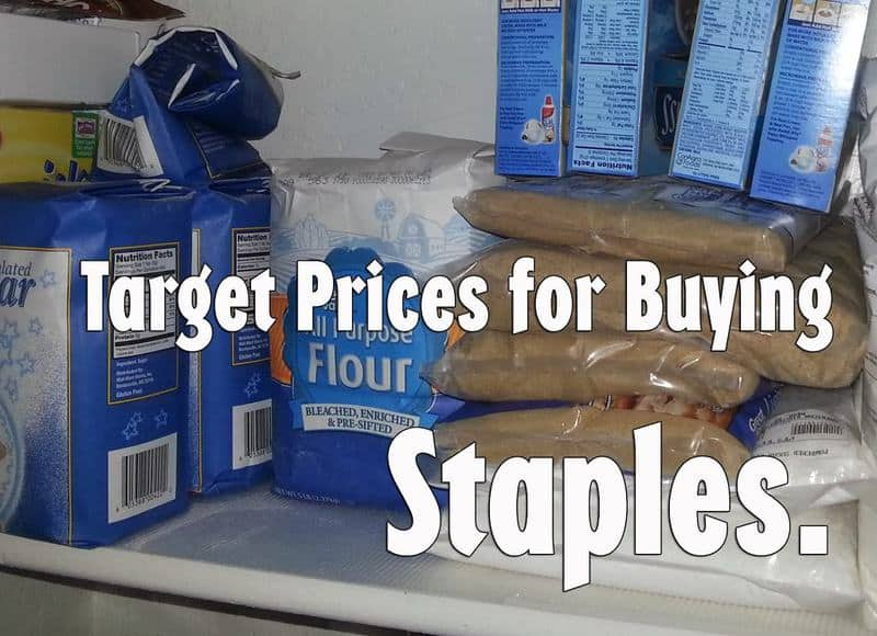 Target prices on staples, plus how much I keep on hand and how I store them.