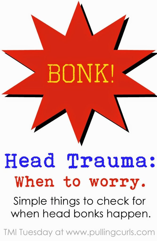 Head trauma in children can be scary!  Whether it's a fall from the grocery cart or simple friends clanking noggins on the playground it makes parents nervous.  Some simple things to watch for!