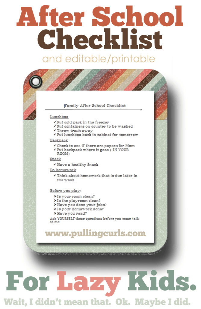 Editable After School Checklist