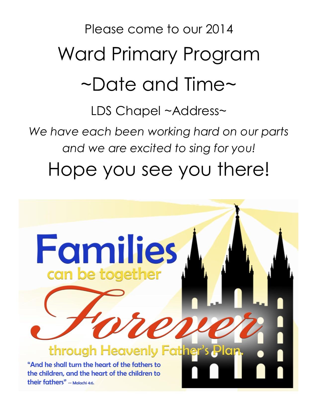 2013 lds primary program invitations | just b.CAUSE