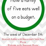 Weekly Menu Plan December 2014