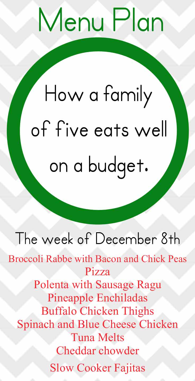 Our December Men plan that allows us to eat a varied diet while staying in budget.
