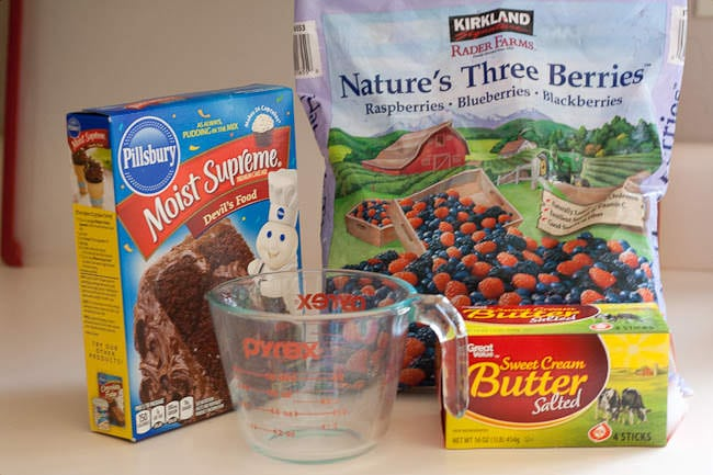 Ingredients for chocolate berry cobbler recipe