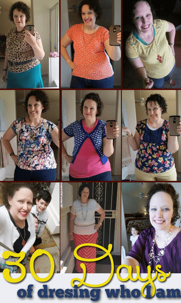 30 days of outfits (not all pictured, thank goodness) and thoughts on how I changed my attitude towards my clothing.
