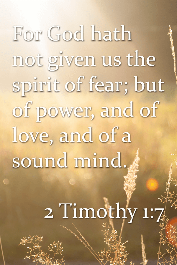 For God hath not given us the spirit of fear; but of power, and of love, and of a sound mind.  How can love combat fear?