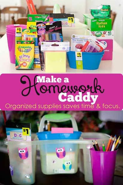 Making a homework caddy can help your child stay focused because all their supplies are within arms reach!  Wherever you're doing homework!
