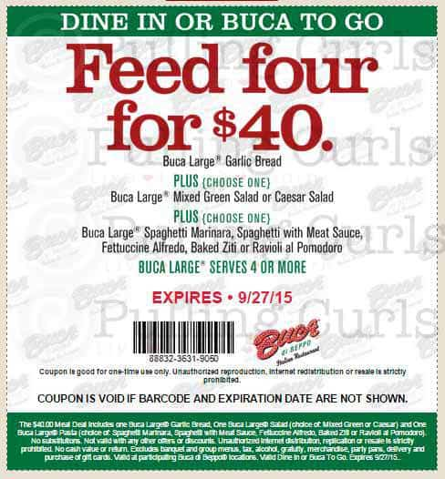 Coupon for Buca di Beppo