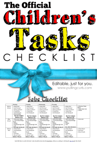 This children's daily tasks checklist will remind your child what needs to be done, and to stay on task. At least, I HOPE it does! #pullingcurls