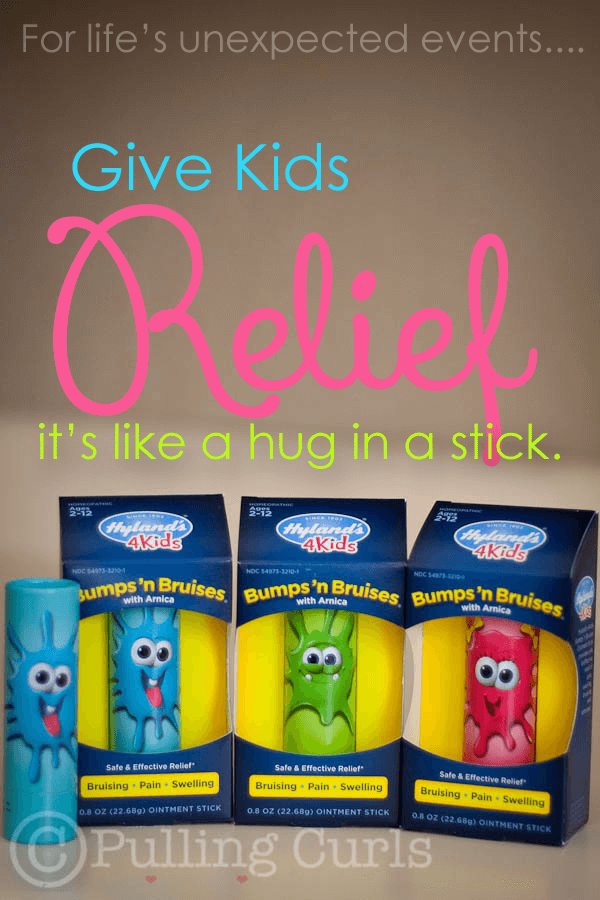 hyland's 4 kids bumps 'n bruises stick helps those little ouchies turn into nothing bigger than that.