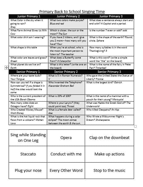Primary singing time printable sheet