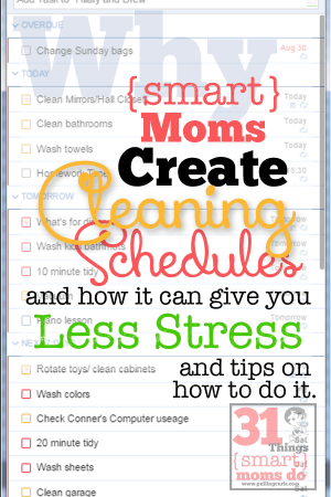Things {Smart} Moms Do:  Weekly Cleaning Schedule