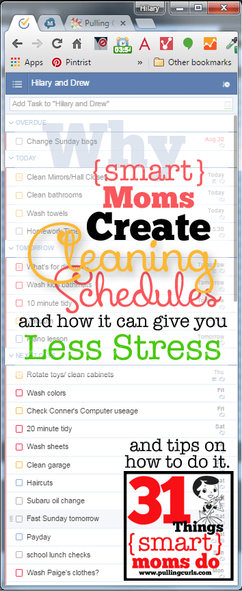 Create a cleaning schedule to take stress away from YOU. It's something smart moms do to decrease their stress!
