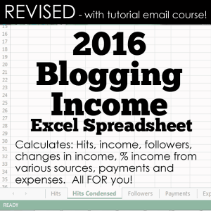 This revised income spreadsheet will calculate all the blog data you need!