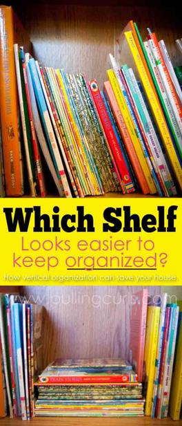There is a reason that books organize so well on a bookshelf. How can you apply it to other areas? Vertical storage makes things so acessible!