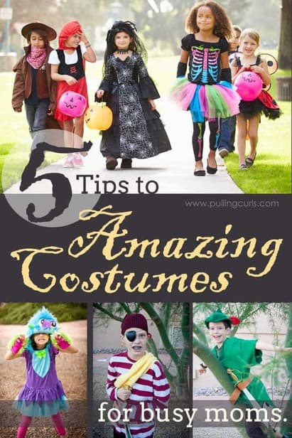 You can get amazing Halloween costumes without the price of your grocery budget or all your time. Here are 5 tips for busy moms who still want costumed, happy kids on Halloween. via @pullingcurls