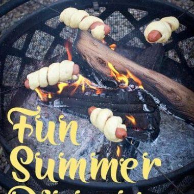 fun summer dinner | firepit | fire | campfire | hot dogs | rolls | bread on a stick