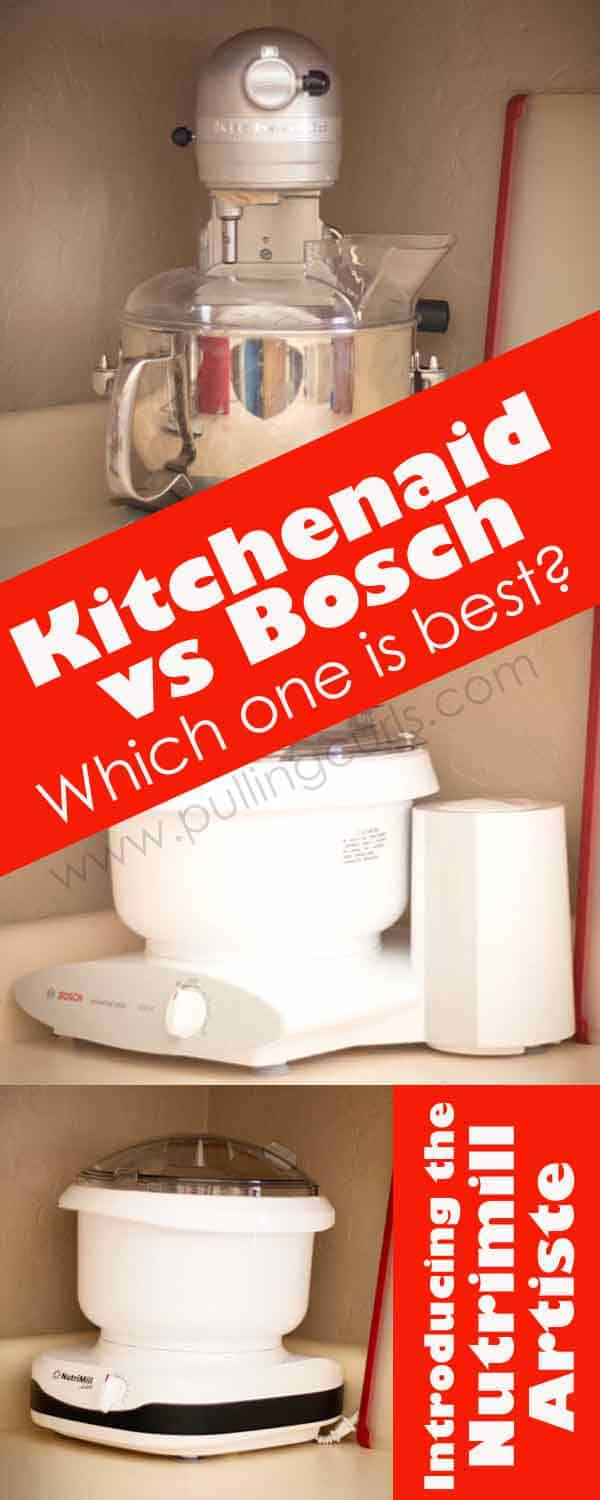 Nutrimill artiste ~ Bosch Universal ~ Kitchenaid Professional -- which one is the best for your family? To make bread, cookies, batters in your stand mixer? via @pullingcurls