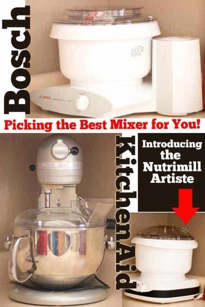 Nutrimill Artiste vs Bosch Universal vs Kitchenaid Pro