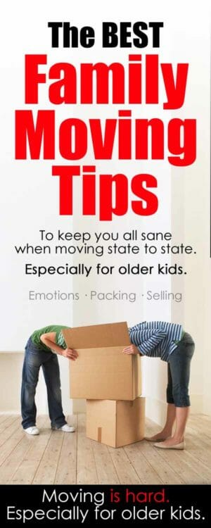 Family moving tips, especially for older kids. Emotions / selling your house / schools