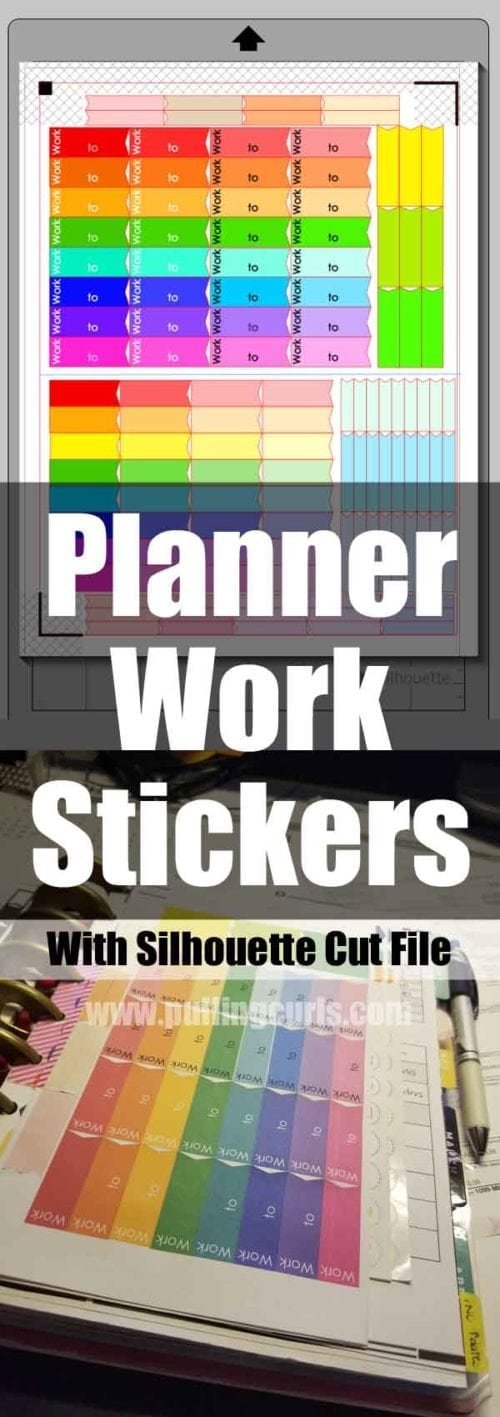 Planner work stickers with silhouette cut file, measured for Happy Planner