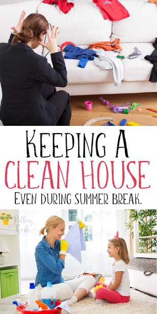 Keeping a clean house with kids IS possible -- these tips will have you sitting pretty, even during summer vacation! #cleaning #kids #organized