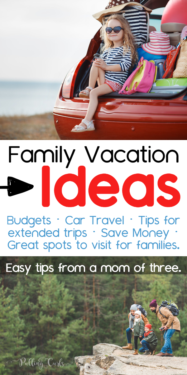 These Family Vacation Ideas will have your head spinning with the possibilities.  We'll review Big family vacation ideas on a budget for summer vacation, or even Christmas vacation! #vacation #familytravel via @pullingcurls