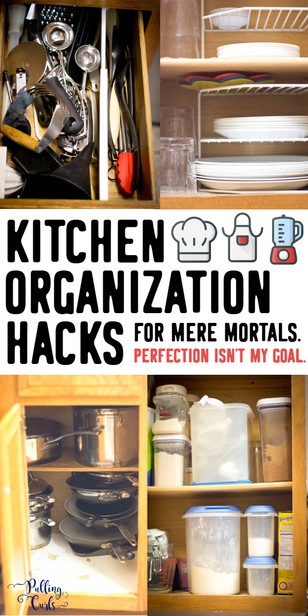 Looking to get your kitchen in order TODAY? These 5 hacks will help you think of your space in a whole new ay and find a spot for everything! via @pullingcurls