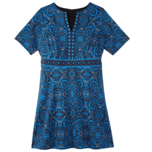 Sabrina Blue Nile elbow sleeve drop shoulder fit and flare dress