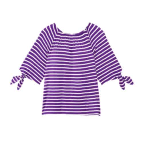 Molly & Isadora emma tied sleeve crew neck tee purple