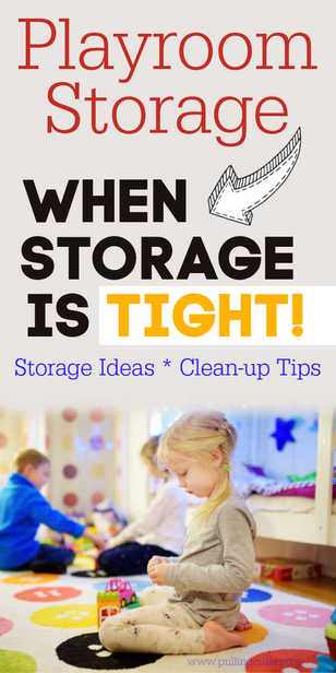 Everyone is looking for playroom ideas -- having small spaces to store many toys is a big problem -- but easily fixed! via @pullingcurls