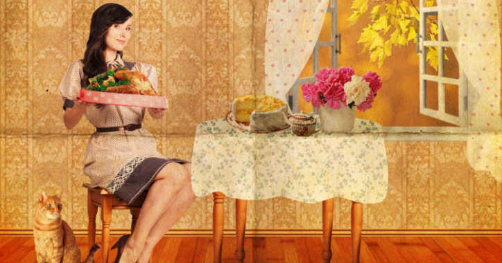 woman with dinner
