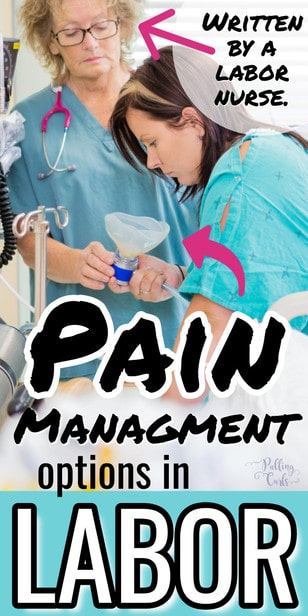 Let's talk about your four options for pain mangaement in labor, how they are used -- including IV medication, epidurals, natural pain management and nitrous oxide. #pregnancy #labor #pain via @pullingcurls