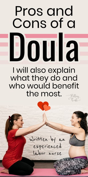 Should you hire a doula? Using a doula has many pros and cons. We're going to talk the advantages and disadvantages of hiring a doula and if you really need one, or if they will be a waste of money. #doula #pregnancy #pregnant via @pullingcurls