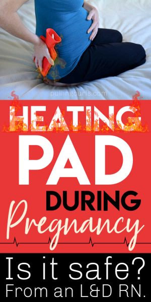Pregnant woman with heating pad