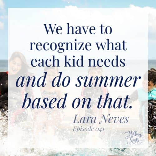 """quote from podcast,  """"We have to recognize what eac h kid needs and do summer based on that"""" ;  kids splashing"""