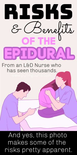 Woman getting an epidural with a nurse and an anesthesiologist