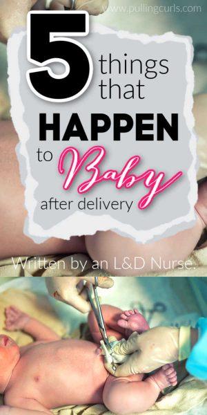 newborn baby getting umbilical cord cut